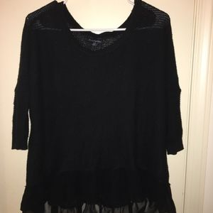 American Eagle High Low Sweater with Ruffle Bottom
